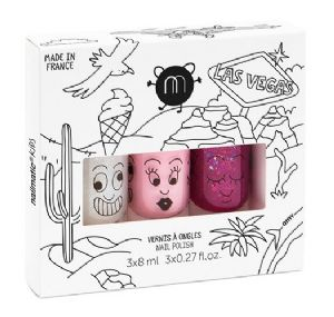 'Las Vegas' set of 3 (Top Coat/Powder Pink/Raspberry Glitter) - nailmatic® kids - water based nail polish
